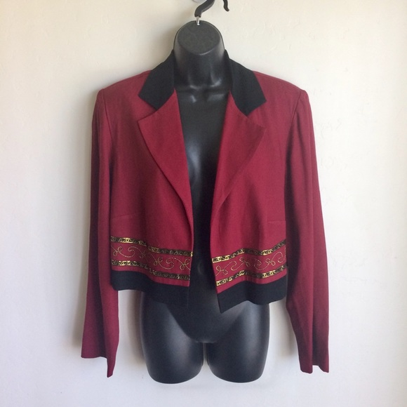 Allison-che Jackets & Blazers - Allison-Che Cropped Jacket Size 14W Wine And Black